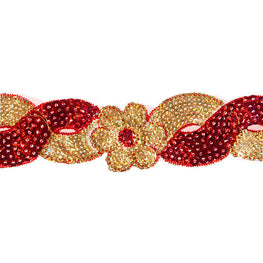 "1.4"" Flower Sequin Swirl Trim - Red/Gold Hologram"
