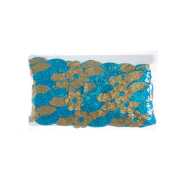 "1.4"" Flower Sequin Swirl Trim - Aqua/Gold Hologram"