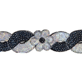 "1.4"" Flower Sequin Swirl Trim - Black/Silver Hologram"