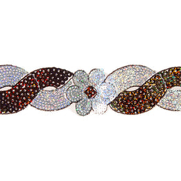 "1.4"" Flower Sequin Swirl Trim - Brown/Silver Hologram"