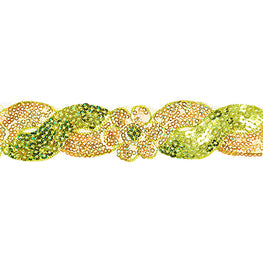 "1.4"" Flower Sequin Swirl Trim - Lime Green/Gold Hologram"
