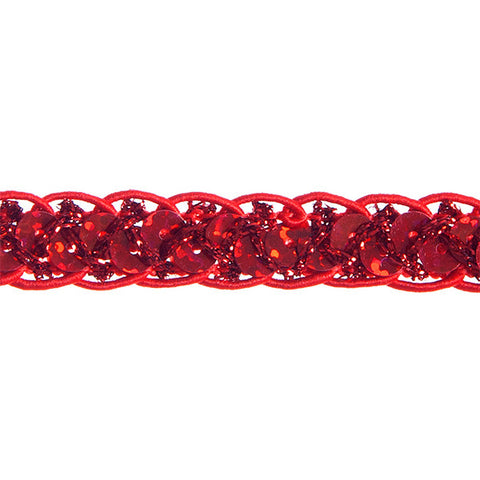 "0.25"" Sequins Braided Hologram Trim - Red"