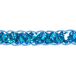 "0.25"" Sequins Braided Hologram Trim - Aqua"