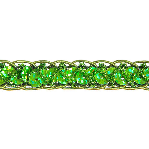 "0.25"" Sequins Braided Hologram Trim - Lime Green"