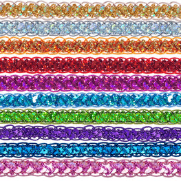"0.25"" Sequins Braided Hologram Trim - Fuchsia"