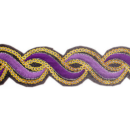 "1.2"" or 1.9"" Twist Sequin Trims - Dark/Light Purple"