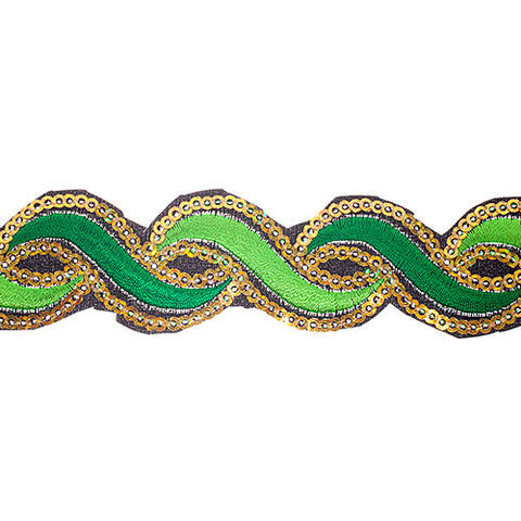 "1.2"" or 1.9"" Twist Sequin Trims - Dark/Light Green"