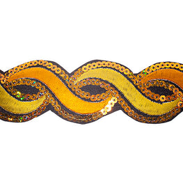 "1.2"" or 1.9"" Twist Sequin Trims - Orange/Yellow"