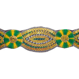 "2"" Floral Sequin Trims - Green/Yellow"