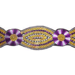 "2"" Floral Sequin Trims - Purple/Yellow"