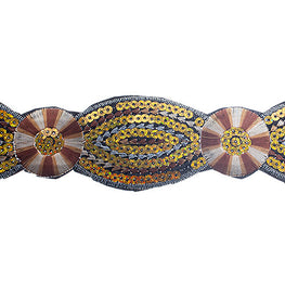 "2"" Floral Sequin Trims - Brown/Yellow"