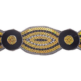 "2"" Floral Sequin Trims - Black/Yellow"