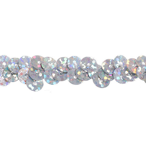 "0.25"" Stretchy Sequins Single Row Hologram Trim - Silver"
