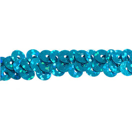 "0.25"" Stretchy Sequins Single Row Hologram Trim - Aqua"
