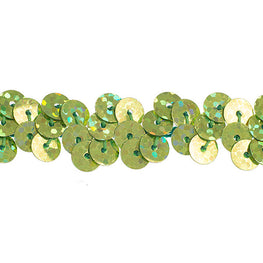 "0.25"" Stretchy Sequins Single Row Hologram Trim - Lime Green"