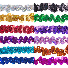 "0.25"" Stretchy Sequins Single Row Hologram Trim - Black"