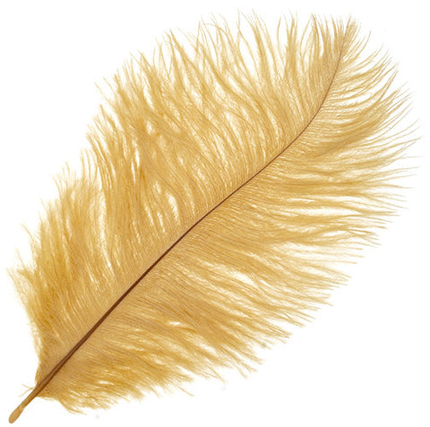 "Ostrich Drab Feathers - Golden (3""-6"")"