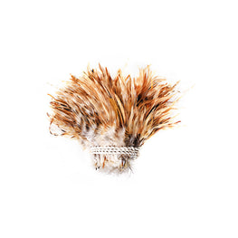 "Chinchilla Strung Rooster Saddle Feathers in Natural Golden Barred Brown (4"" strip)"