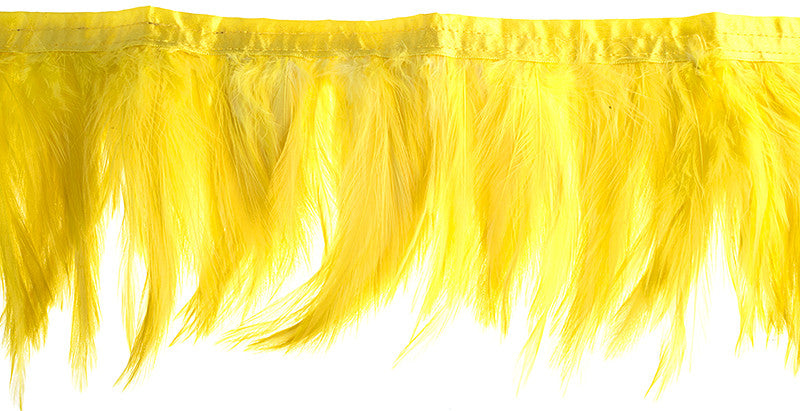 Coque Hackle Strung Feather Trim - Yellow