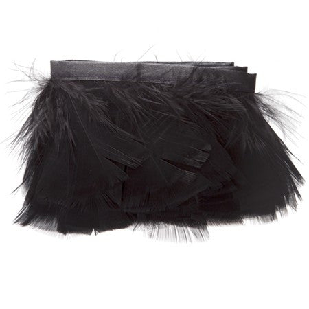"Feather Trim - Turkey Marabou Fluff Feather Fringe Trim - Black (3""-4"") (1 yard)"