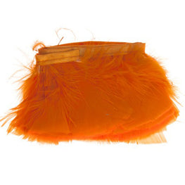 "Feather Trim - Turkey Marabou Fluff Feather Fringe Trim - Orange (3""-4"") (1 yard)"