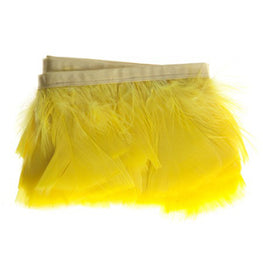"Feather Trim - Turkey Marabou Fluff Feather Fringe Trim - Yellow (3""-4"") (1 yard)"