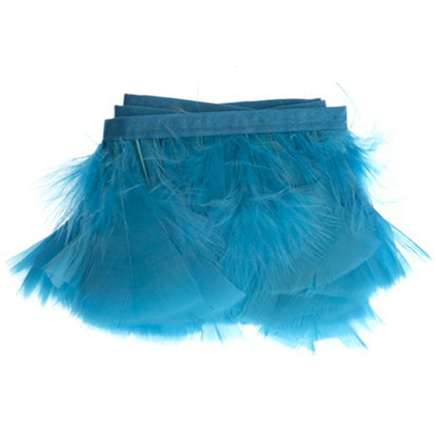 "Feather Trim - Turkey Marabou Fluff Feather Fringe Trim - Turquoise (3""-4"") (1 yard)"