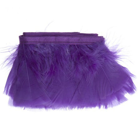 "Feather Trim - Turkey Marabou Fluff Feather Fringe Trim - Purple (3""-4"") (1 yard)"