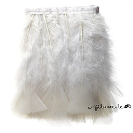 "Feather Trim - Turkey Marabou Fluff Feather Fringe Trim - White (3""-4"") (1 yard)"