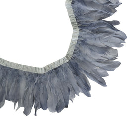 Feather Trim - Goose Feather Satinette Fringe Trims - Platinum Silver (1 yard)
