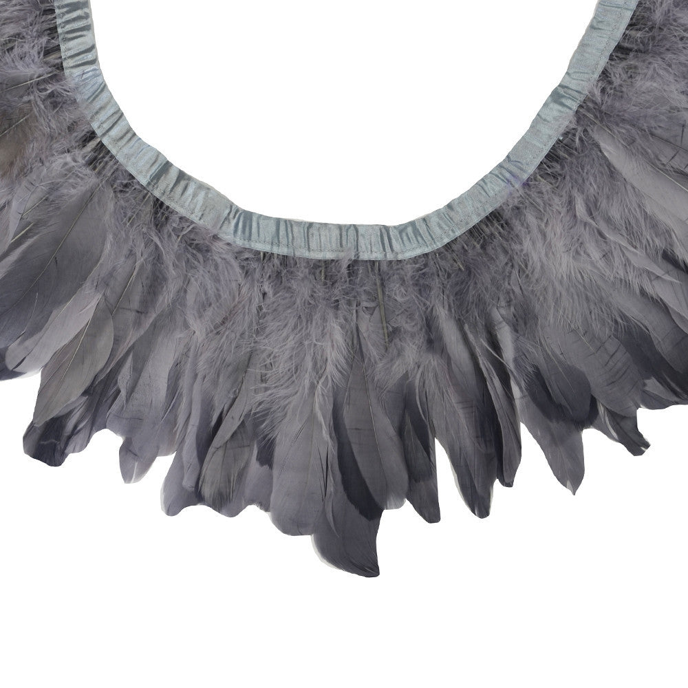 Feather Trim - Goose Feather Satinette Fringe Trims - Grey - 5