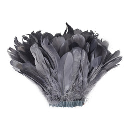 "Feather Trim - Goose Feather Satinette Fringe Trims - Grey - 5""-7"" (1 yard)"