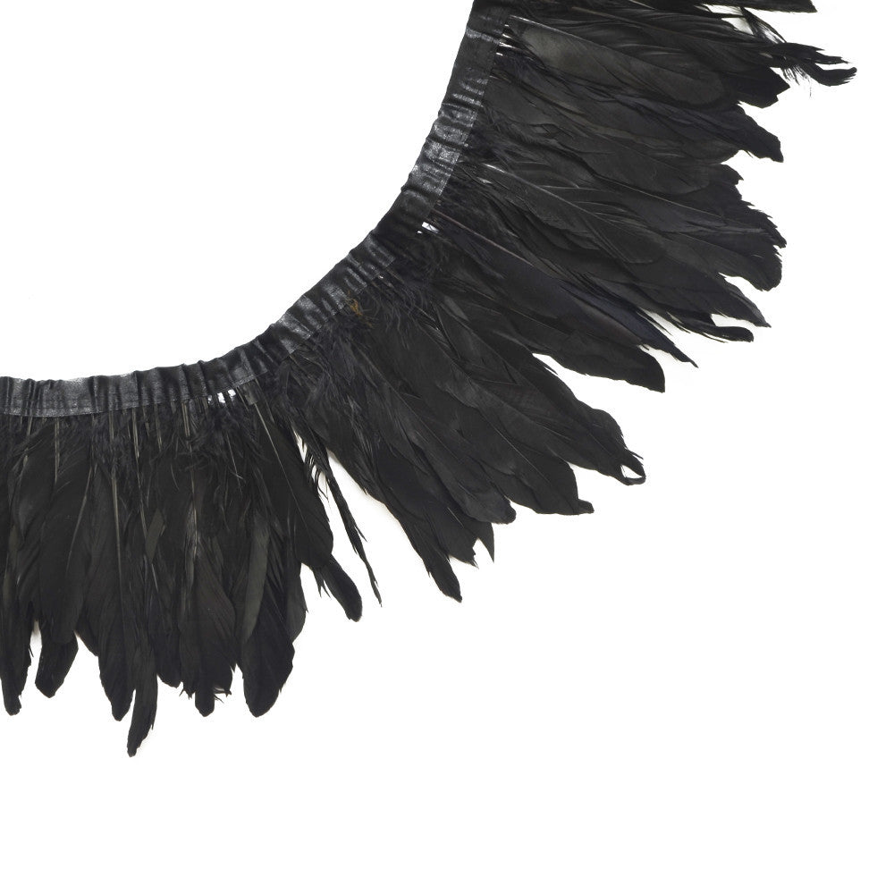 Feather Trim - Goose Feather Satinette Fringe Trims - Black - 5