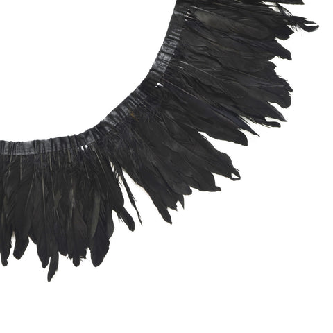 "Feather Trim - Goose Feather Satinette Fringe Trims - Black - 5""-7"" (1 yard)"