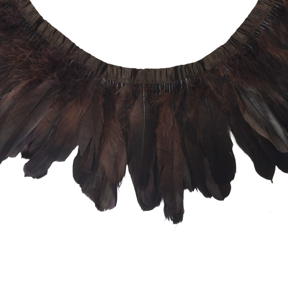 Feather Trim - Goose Feather Satinette Fringe Trims - Dark Brown - 5