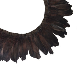 "Feather Trim - Goose Feather Satinette Fringe Trims - Dark Brown - 5""-7"" (1 yard)"