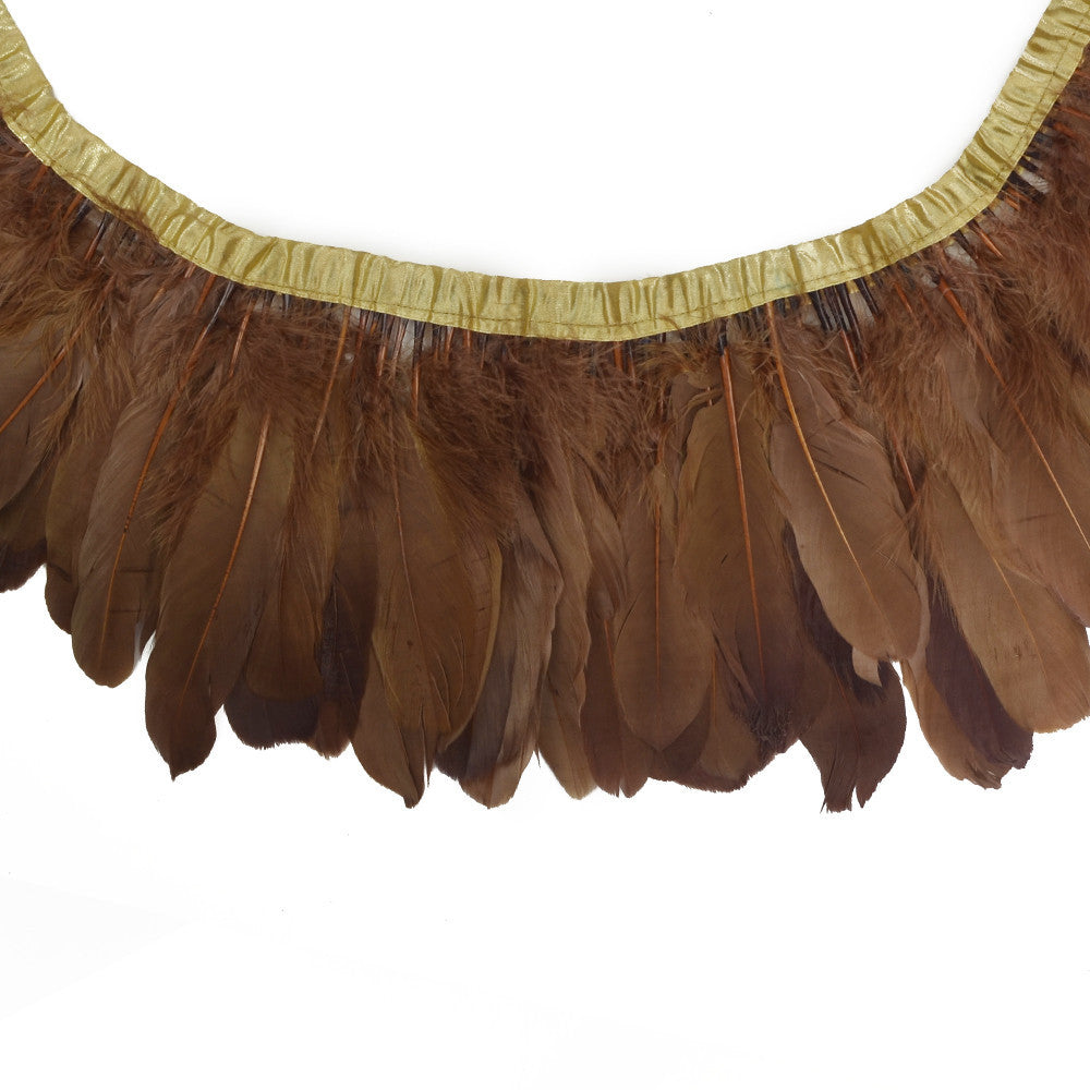 Feather Trim - Goose Feather Satinette Fringe Trims - Chocolate Brown - 5
