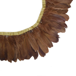 "Feather Trim - Goose Feather Satinette Fringe Trims - Chocolate Brown - 5""-7"" (1 yard)"