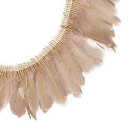 "Feather Trim - Goose Feather Satinette Fringe Trims - Nude - 5""-7"" (1 yard)"