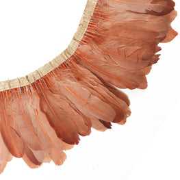 "Feather Trim - Goose Feather Satinette Fringe Trims - Peach - 5""-7"" (1 yard)"