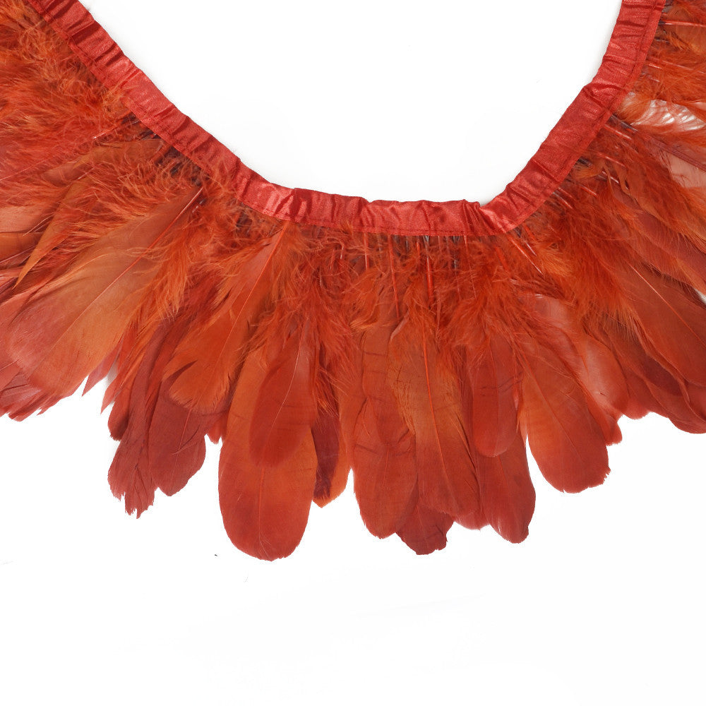Feather Trim - Goose Feather Satinette Fringe Trims - Persimmon Red - 5
