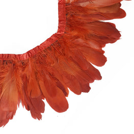 "Feather Trim - Goose Feather Satinette Fringe Trims - Persimmon Red - 5""-7"" (1 yard)"
