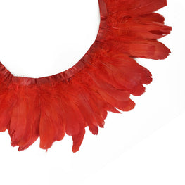 "Feather Trim - Goose Feather Satinette Fringe Trims - Poppy Red - 5""-7"" (1 yard)"