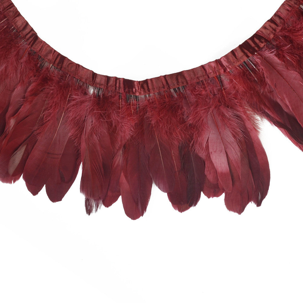 Feather Trim - Goose Feather Satinette Fringe Trims - Maroon Red - 5
