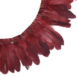 "Feather Trim - Goose Feather Satinette Fringe Trims - Maroon Red - 5""-7"" (1 yard)"