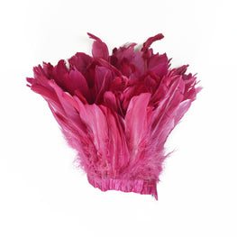 "Feather Trim - Goose Feather Satinette Fringe Trims - Raspberry Pink - 5""-7"" (1 yard)"