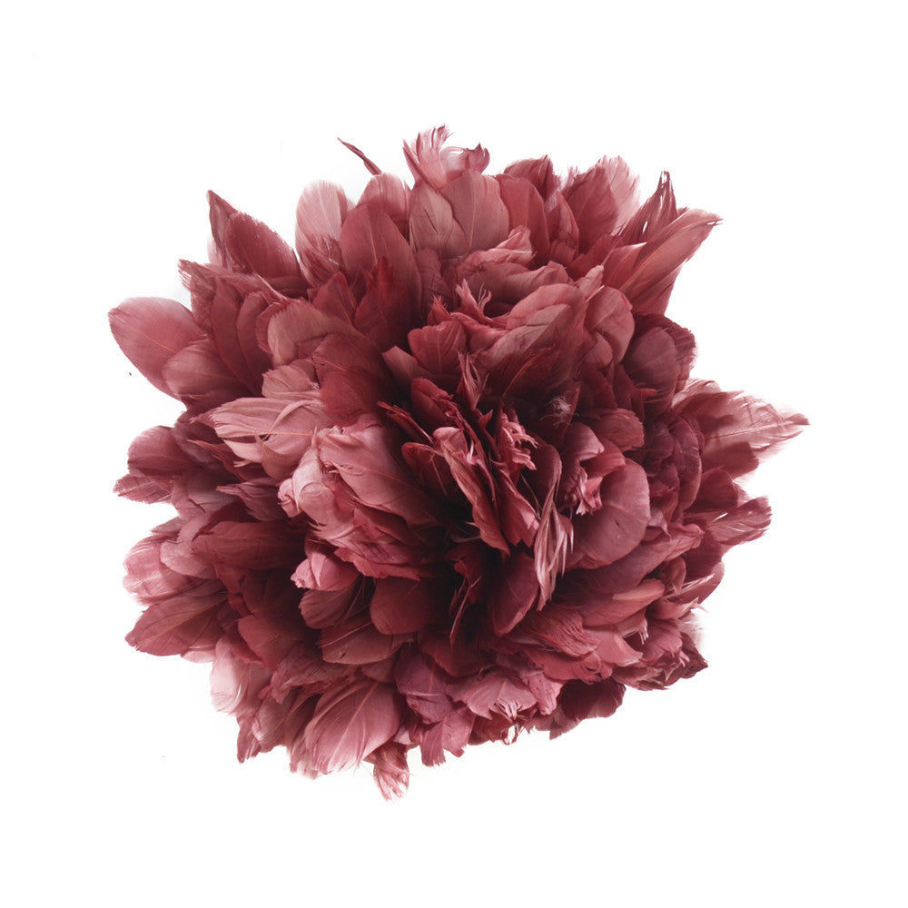Feather Trim - Goose Feather Satinette Fringe Trims - Rosewood Pink - 5