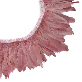 "Feather Trim - Goose Feather Satinette Fringe Trims - Rosewood Pink - 5""-7"" (1 yard)"