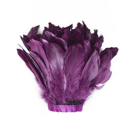 "Feather Trim - Goose Feather Satinette Fringe Trims - Sangria Purple - 5""-7"" (1 yard)"