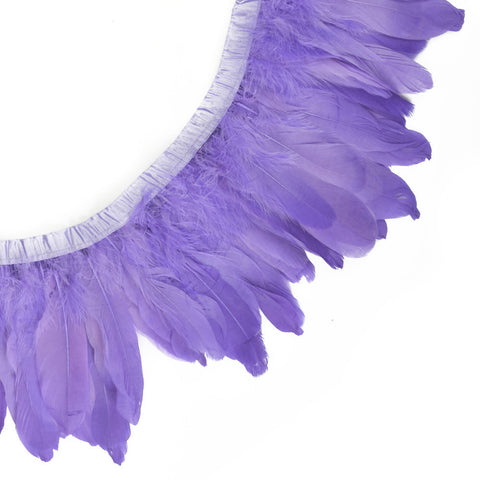 "Feather Trim - Goose Feather Satinette Fringe Trims - Lilac Purple - 5""-7"" (1 yard)"